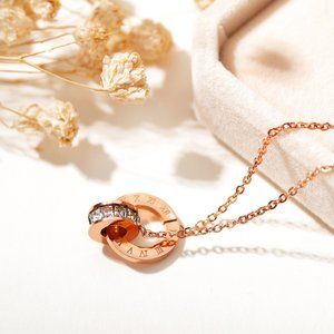 OPK Titanium steel rose gold double ring necklace